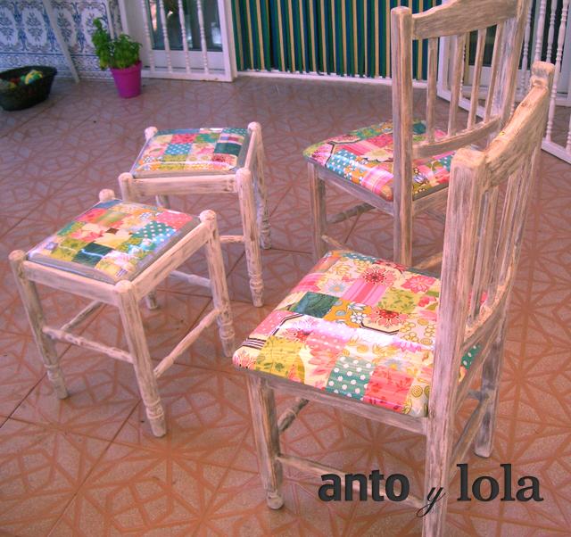 Sillas restauradas con asiento de patchwork for Asientos para sillas
